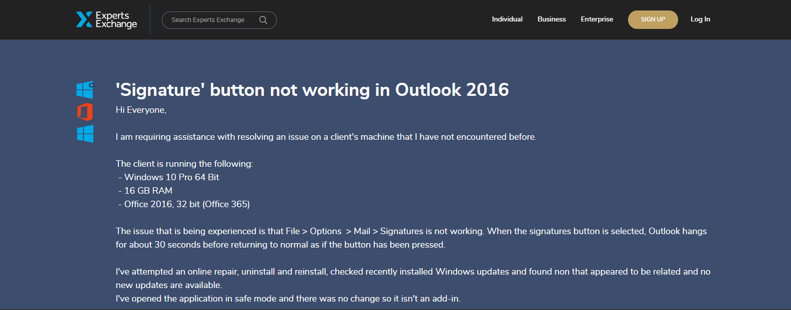 "Signature"" Button Not Working in Outlook 2016 – [SOLVED]"