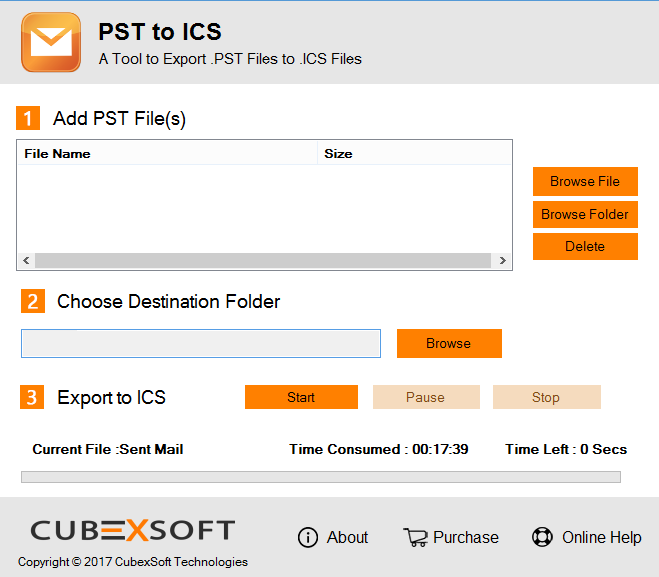 Use Free CubexSoft PST to ICS Converter Demo