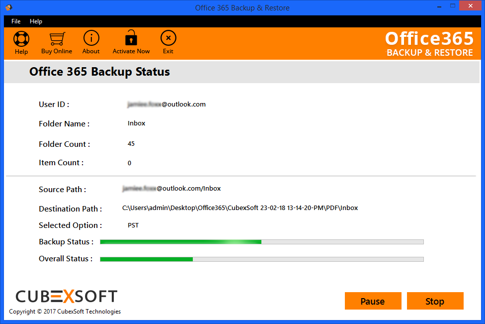 View progess report of software saving Office365 local archive mailbox
