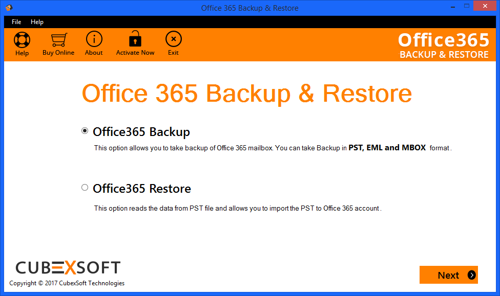 Select Office 365 backup option
