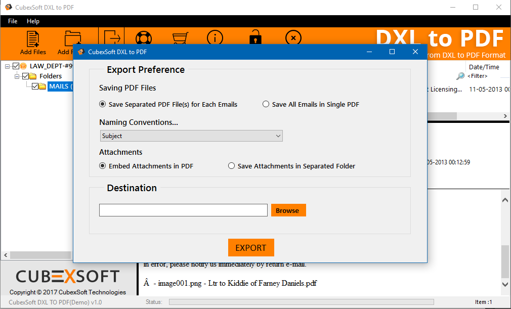 Export Option for DXL files to PDF