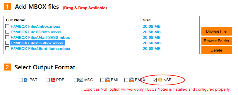 MBOX files to .nsf database format of IBM Notes