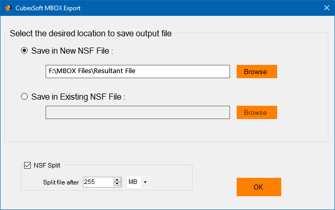 Save MBOX files as NSF file format