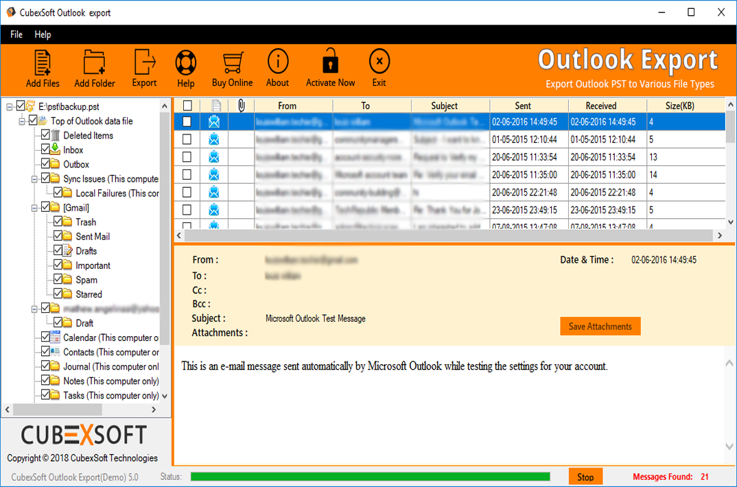 CubexSoft PST to MBOX Tool to Export Outlook files to MBOX
