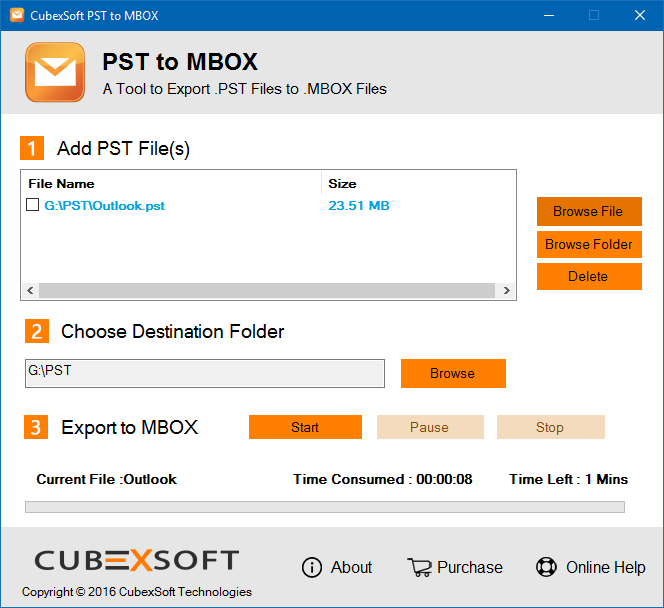 CubexSoft MBOX to PST Tool to Convert Outlook files to MBOX