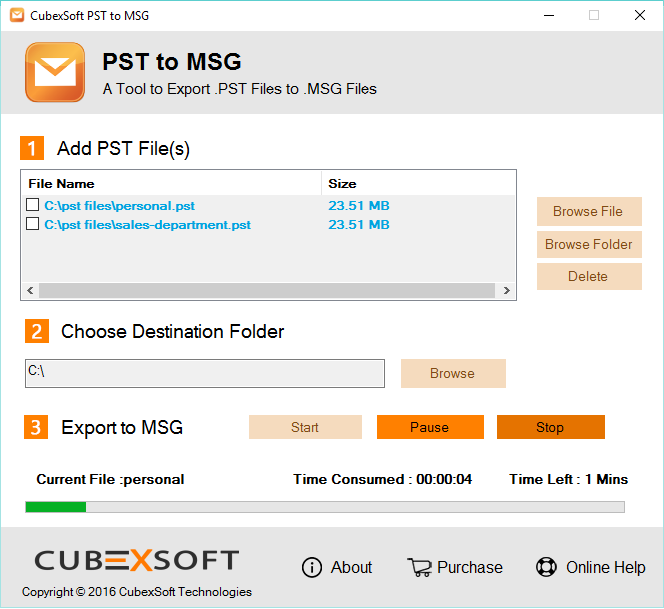 PST files to MSG Program