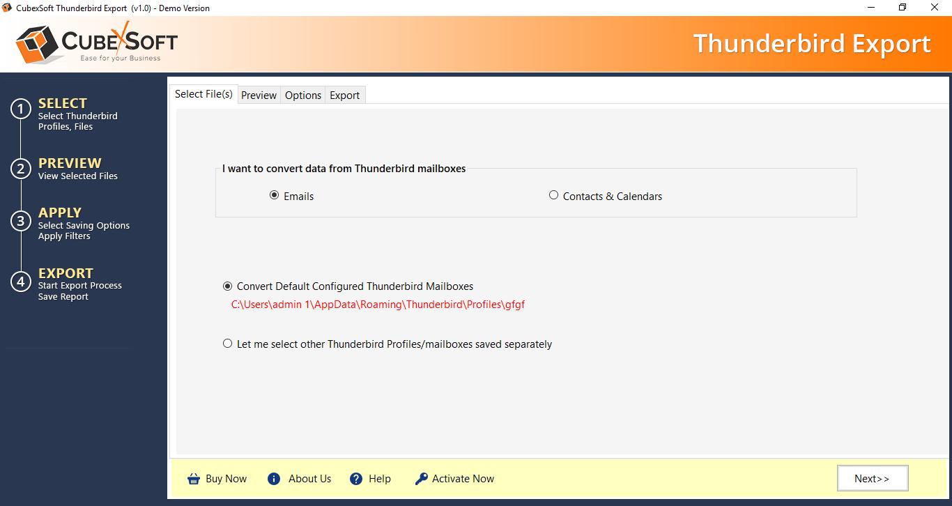 Thunderbird Converter full screenshot