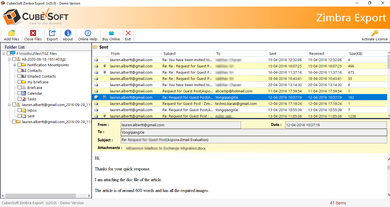 Migrate Zimbra Mailbox to Outlook 3.8