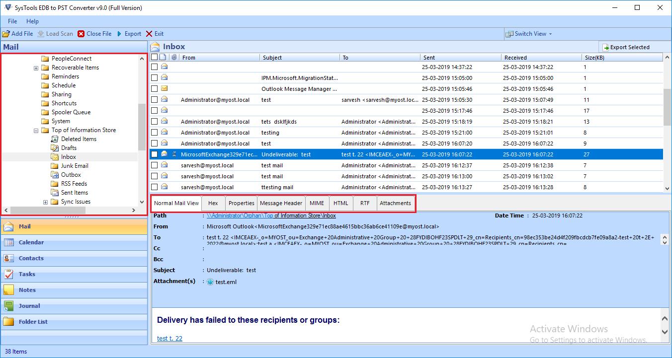 View EDB File Data