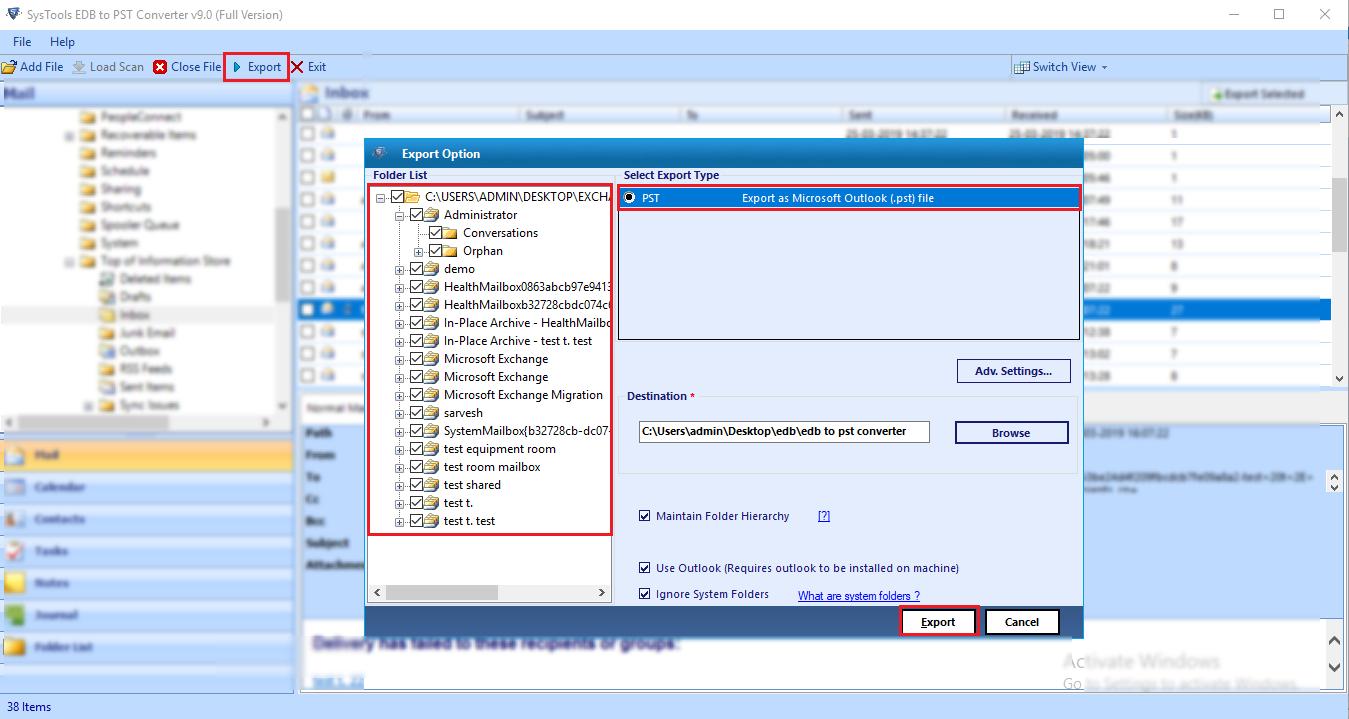 Export EDB File to PST