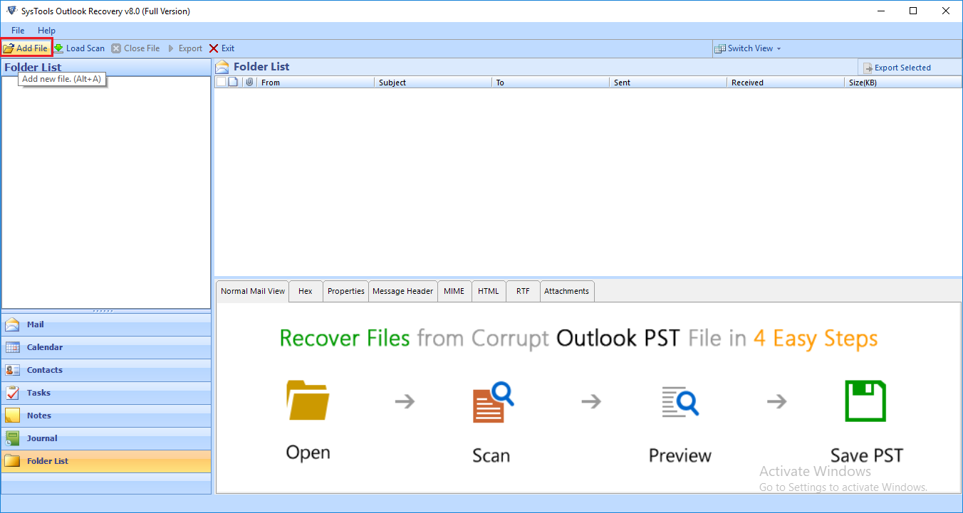 CubexSoft PST Recovery full screenshot