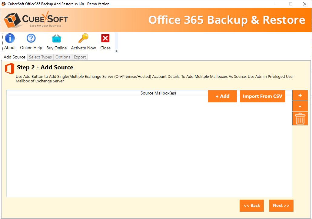 Select O365 backup option