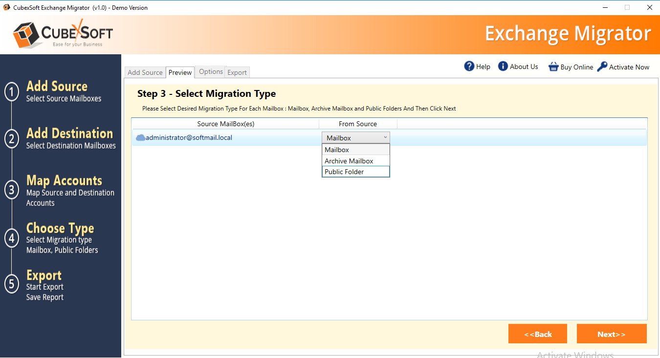 select migration type