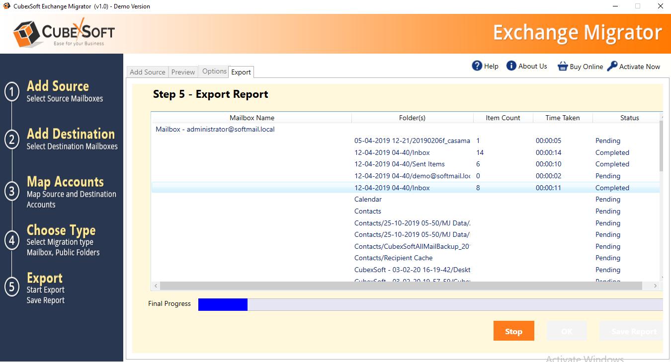 Exchange migration summary report