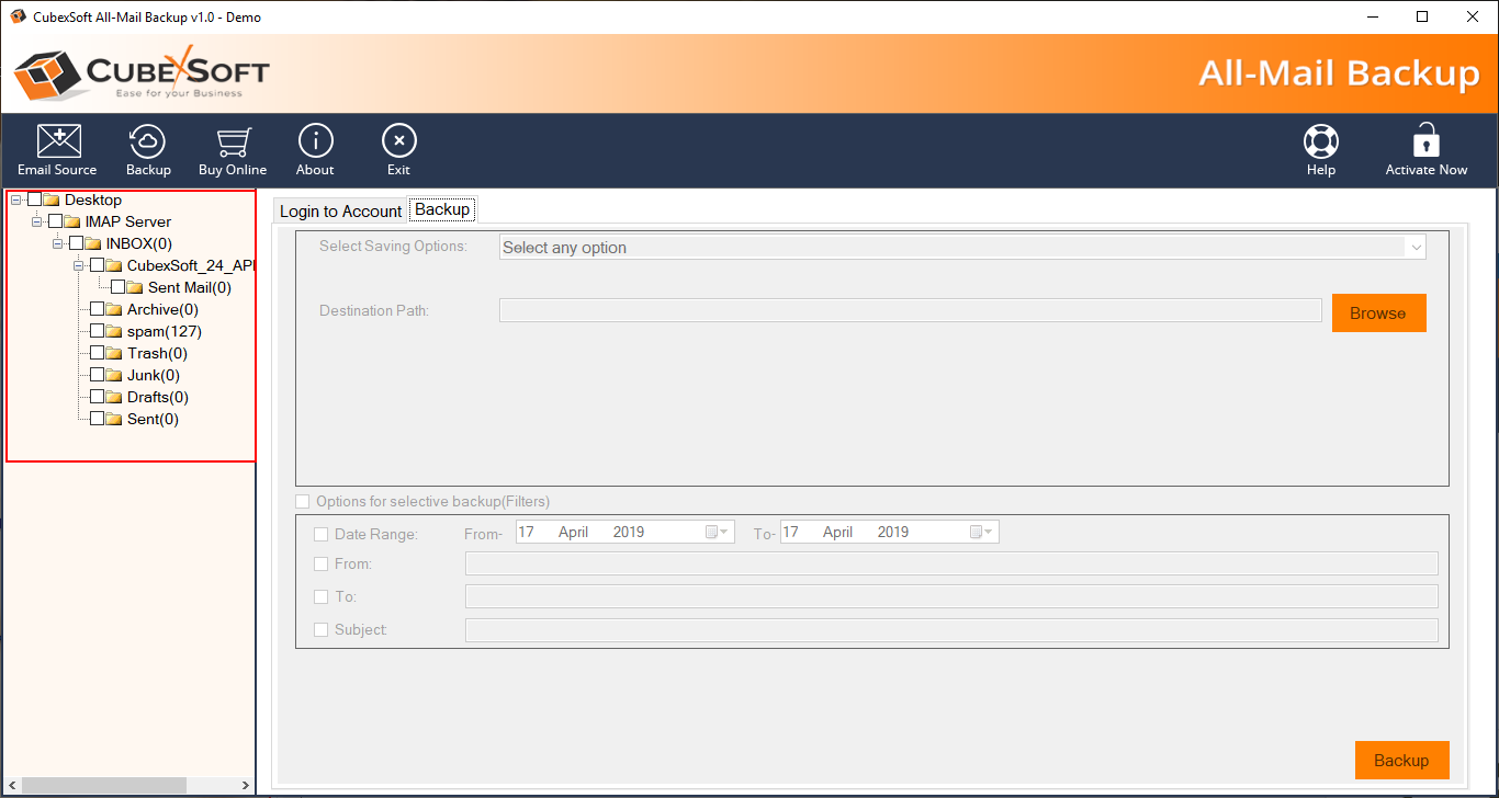 CubexSoft Rackspace Backup Tool V1.0 full screenshot