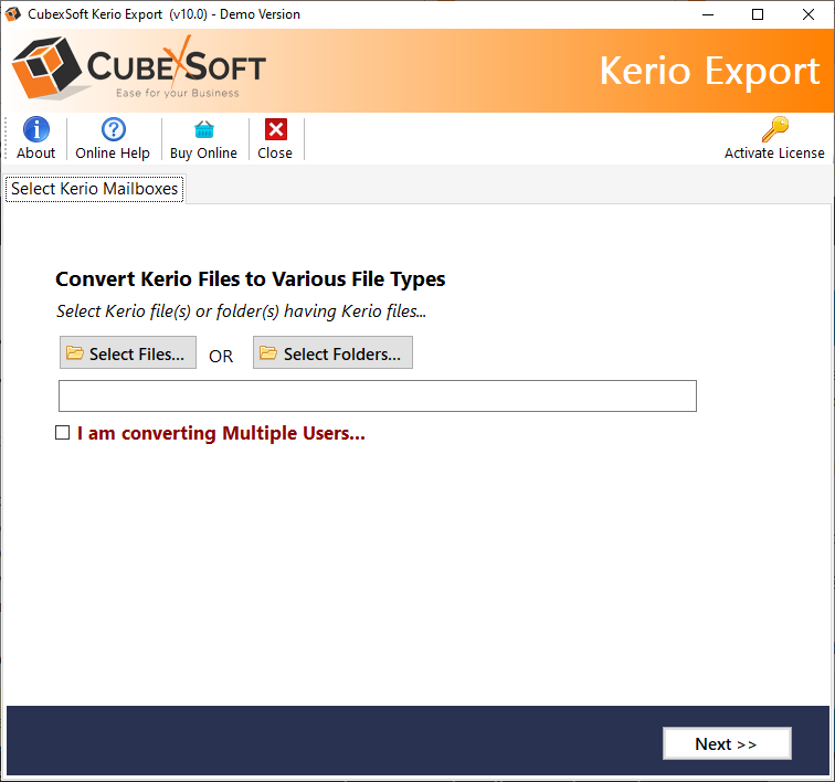 CubexSoft Kerio Export full screenshot