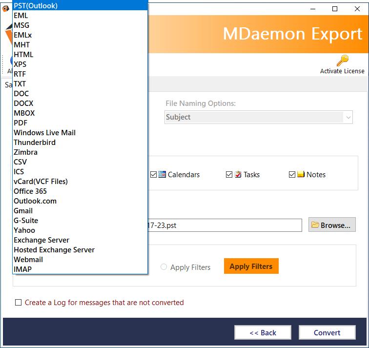 CubexSoft MDaemon Export full screenshot