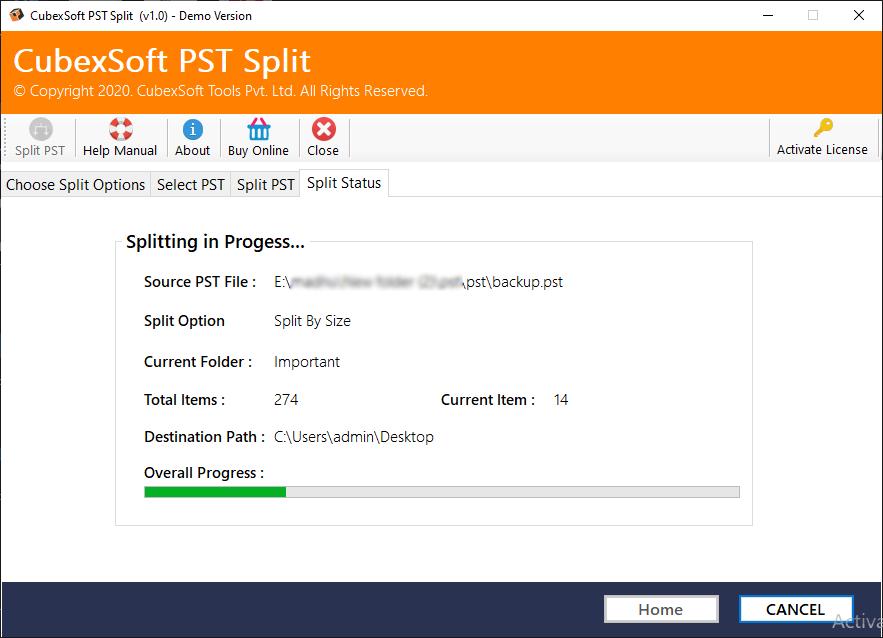 software splitting large PST files