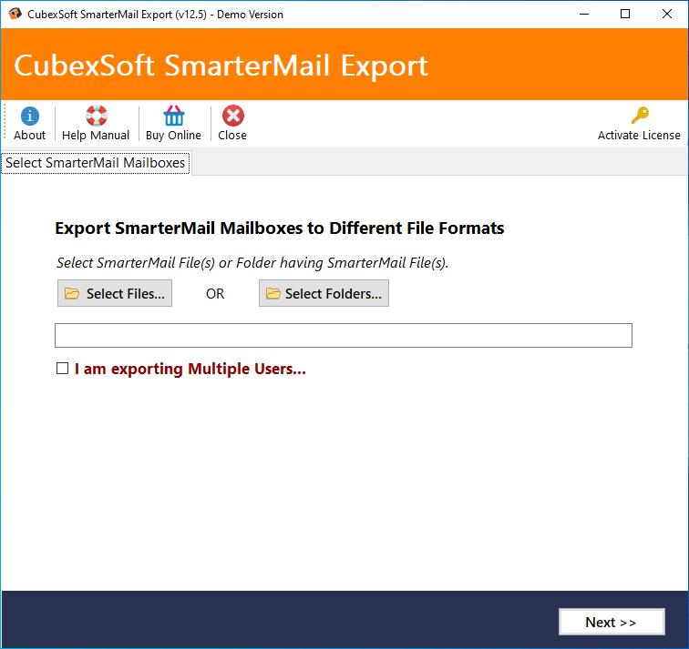 CubexSoft SmarterMail Export full screenshot